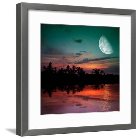 Magical Evening on the Ocean and the Moon-Krivosheev Vitaly-Framed Art Print