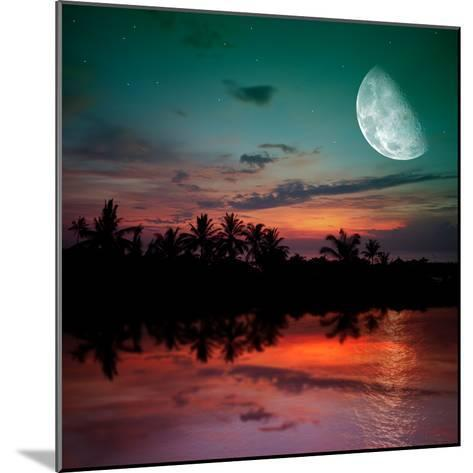 Magical Evening on the Ocean and the Moon-Krivosheev Vitaly-Mounted Photographic Print