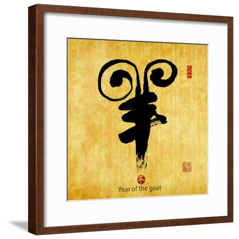 Chinese Calligraphy Mean Year of the Goat 2015,Translation: Good Bless for New Year-kenny001-Framed Art Print