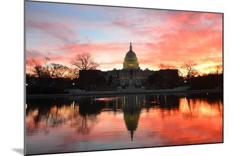 Capitol Building in a Cloudy Sunrise with Mirror Reflection, Washington D.C. United States-Orhan-Mounted Photographic Print