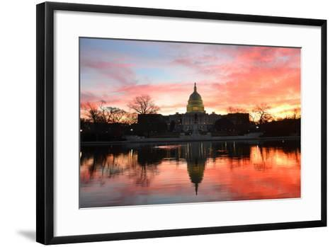 Capitol Building in a Cloudy Sunrise with Mirror Reflection, Washington D.C. United States-Orhan-Framed Art Print