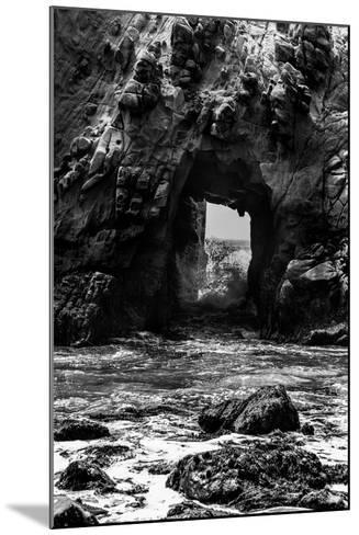 California Pfeiffer Beach in Big Sur State Park Dramatic Black and White Rocks and Waves-holbox-Mounted Photographic Print