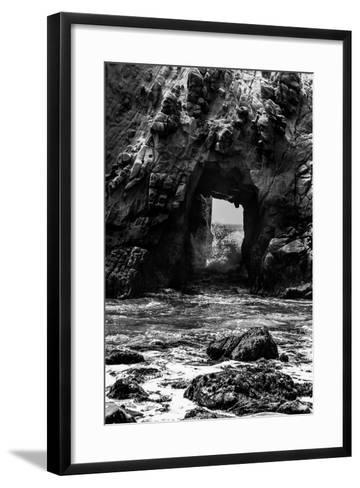 California Pfeiffer Beach in Big Sur State Park Dramatic Black and White Rocks and Waves-holbox-Framed Art Print