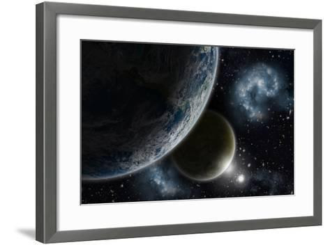 Space Background with Earth and Nebula in Starry Sky - Elements of this Image Furnished by NASA-kjpargeter-Framed Art Print