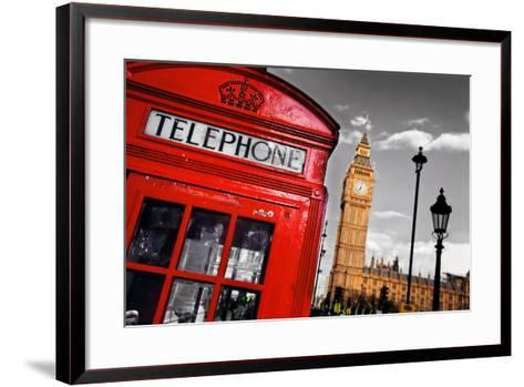 Red Telephone Booth and Big Ben in London, England, the Uk. the Symbols of London on Black on White-Michal Bednarek-Framed Art Print