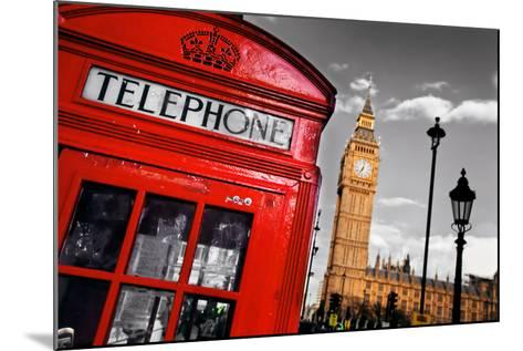 Red Telephone Booth and Big Ben in London, England, the Uk. the Symbols of London on Black on White-Michal Bednarek-Mounted Photographic Print