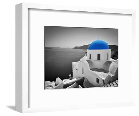 Oia Town on Santorini Island, Greece. Black and White Styled with Blue Dome of Traditional Church O-Michal Bednarek-Framed Art Print