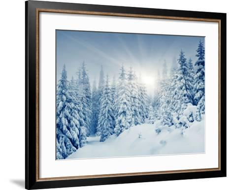 Beautiful Winter Landscape with Snow Covered Trees-Leonid Tit-Framed Art Print