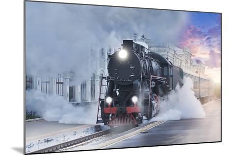 Retro Steam Train.-Breev Sergey-Mounted Photographic Print