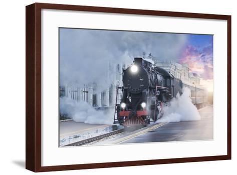 Retro Steam Train.-Breev Sergey-Framed Art Print