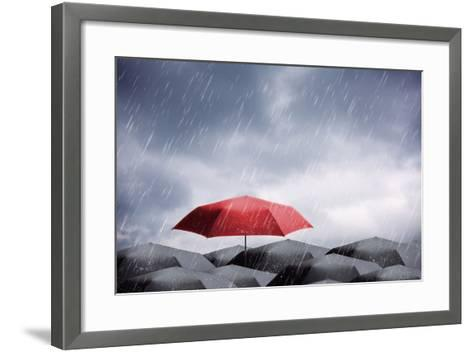 Umbrellas under Rain and Thunderstorm-Nomad Soul-Framed Art Print