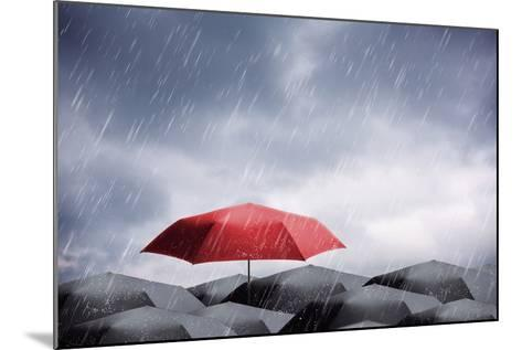 Umbrellas under Rain and Thunderstorm-Nomad Soul-Mounted Photographic Print