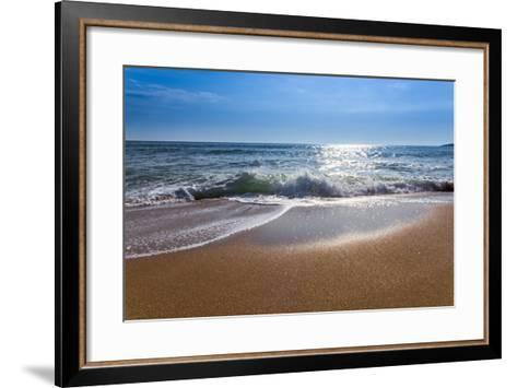 Sand Sea Beach and Blue Sky after Sunrise and Splash of Seawater with Sea Foam and Waves-fototo-Framed Art Print