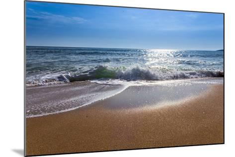 Sand Sea Beach and Blue Sky after Sunrise and Splash of Seawater with Sea Foam and Waves-fototo-Mounted Photographic Print