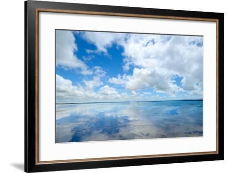 Soft Wave of the Sea on the Sandy Beach-idizimage-Framed Art Print