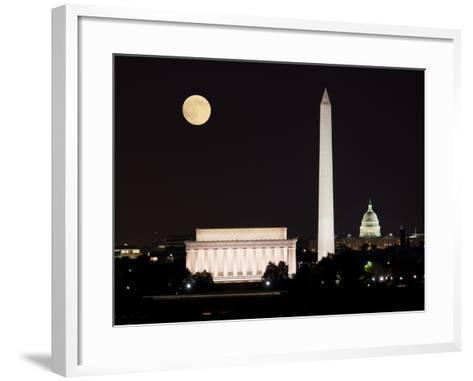 Moon Rising in Washington DC-BackyardProductions-Framed Art Print