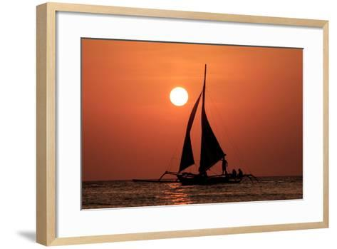 Sailing Boat at Sunset on Sea-Rich Carey-Framed Art Print