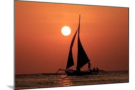 Sailing Boat at Sunset on Sea-Rich Carey-Mounted Photographic Print