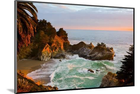 Mcway Falls in Big Sur at Sunset, California-Andy777-Mounted Photographic Print