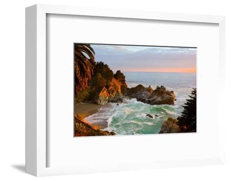 Mcway Falls in Big Sur at Sunset, California-Andy777-Framed Art Print