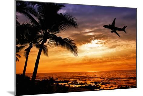 Sunset with Palm Tree and Airplane Silhouettes-krisrobin-Mounted Photographic Print