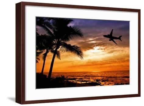 Sunset with Palm Tree and Airplane Silhouettes-krisrobin-Framed Art Print