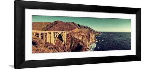 Bixby Bridge Panorama as the Famous Landmark in Big Sur California.-Songquan Deng-Framed Art Print