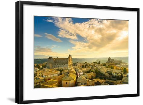 Orvieto Medieval Town and Duomo Cathedral Church Aerial View. Italy-stevanzz-Framed Art Print