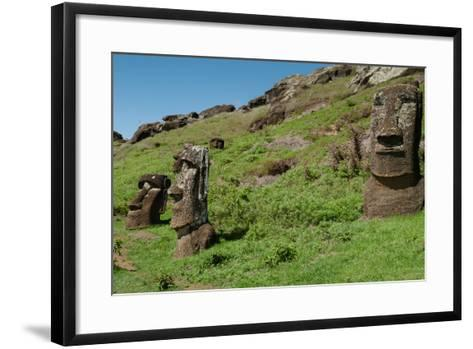Statues on Isla De Pascua. Rapa Nui. Easter Island-Vladimir Krupenkin-Framed Art Print