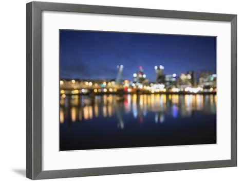 Out of Focus Portland City Skyline at Blue Hour-jpldesigns-Framed Art Print