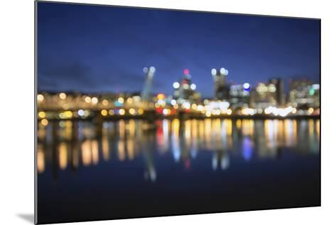 Out of Focus Portland City Skyline at Blue Hour-jpldesigns-Mounted Photographic Print