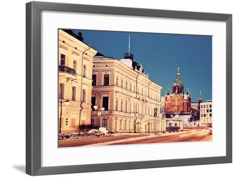 Evening in Helsinki - View from Market Square-benkrut-Framed Art Print