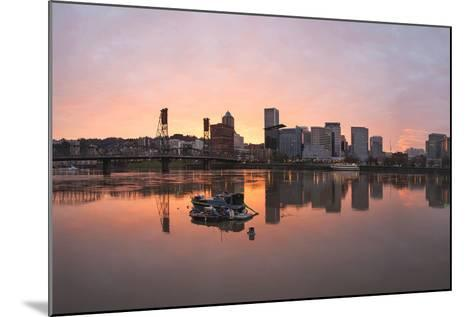 Sunset over Willamette River in Portland-jpldesigns-Mounted Photographic Print