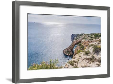 Blue Grotto on the Southern Coast of Malta.-Anibal Trejo-Framed Art Print