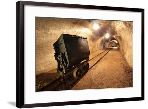 Underground Train in Mine, Carts in Gold, Silver and Copper Mine.-TTstudio-Framed Art Print