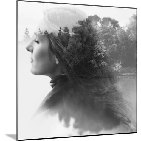 Double Exposure of Young Female and the Forest near the Lake(Tilt-Shift Lens)-Kuzma-Mounted Photographic Print