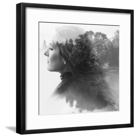 Double Exposure of Young Female and the Forest near the Lake(Tilt-Shift Lens)-Kuzma-Framed Art Print