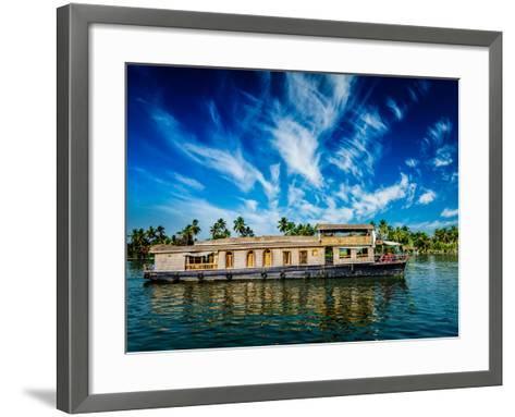 Kerala India Travel Background - Houseboat on Kerala Backwaters. Kerala, India-f9photos-Framed Art Print