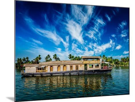 Kerala India Travel Background - Houseboat on Kerala Backwaters. Kerala, India-f9photos-Mounted Photographic Print
