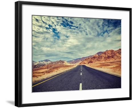 Vintage Retro Effect Filtered Hipster Style Travel Image of Travel Forward Concept Background - Roa-f9photos-Framed Art Print