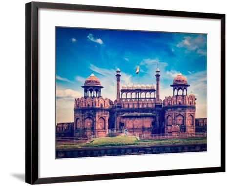 Vintage Retro Hipster Style Travel Image of India Travel Tourism Background - Red Fort (Lal Qila) D-f9photos-Framed Art Print