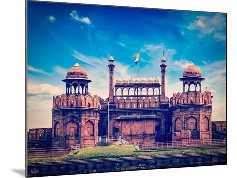 Vintage Retro Hipster Style Travel Image of India Travel Tourism Background - Red Fort (Lal Qila) D-f9photos-Mounted Photographic Print