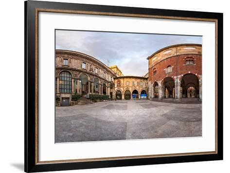 Panorama of Palazzo Della Ragione and Piazza Dei Mercanti in the Morning, Milan, Italy-anshar-Framed Art Print