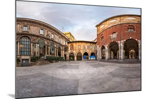 Panorama of Palazzo Della Ragione and Piazza Dei Mercanti in the Morning, Milan, Italy-anshar-Mounted Photographic Print