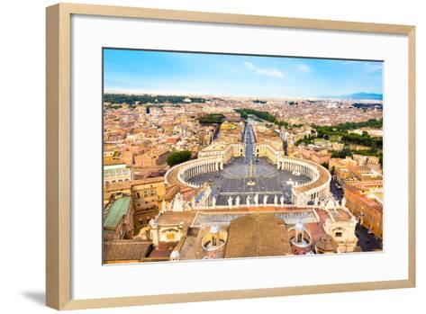 Saint Peter's Square in Vatican, Rome, Italy.-kasto-Framed Art Print