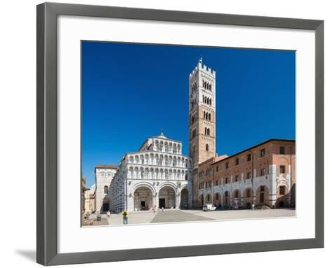Lucca, ITALY - June 30: Tourists at Church San Martino in Lucca Italy.People Wait outside the Churc-Petr Jilek-Framed Art Print