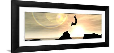 Concept or Conceptual Young Man or Businessman Silhouette Jump Happy from Cliff over Water Gap Suns-bestdesign36-Framed Art Print