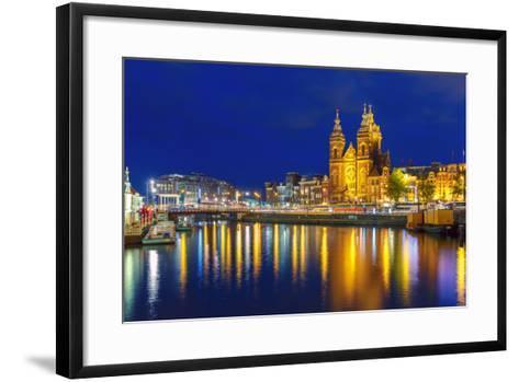 Night Amsterdam Canal and Basilica Saint Nichola-kavalenkava volha-Framed Art Print