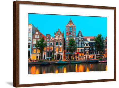 Night City View of Amsterdam Canals and Typical Houses, Holland, Netherlands.-kavalenkava volha-Framed Art Print