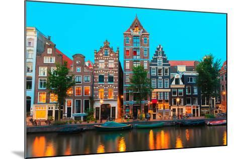 Night City View of Amsterdam Canals and Typical Houses, Holland, Netherlands.-kavalenkava volha-Mounted Photographic Print